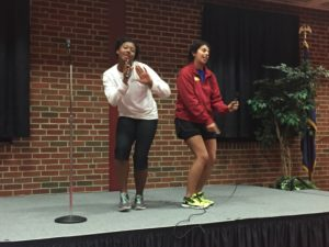 Seniors Hunter Grace and Alexa Quiroz bust a move during their Lip Sync performance.