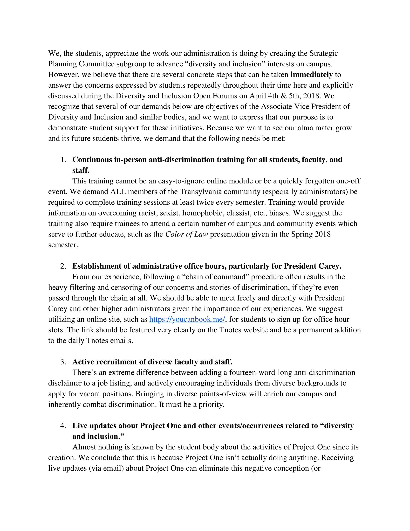 Demonstrators' list of demands, page 1
